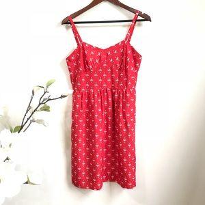 J.Crew factory red printed cami dress